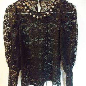 Zara black lace shirt with necklace